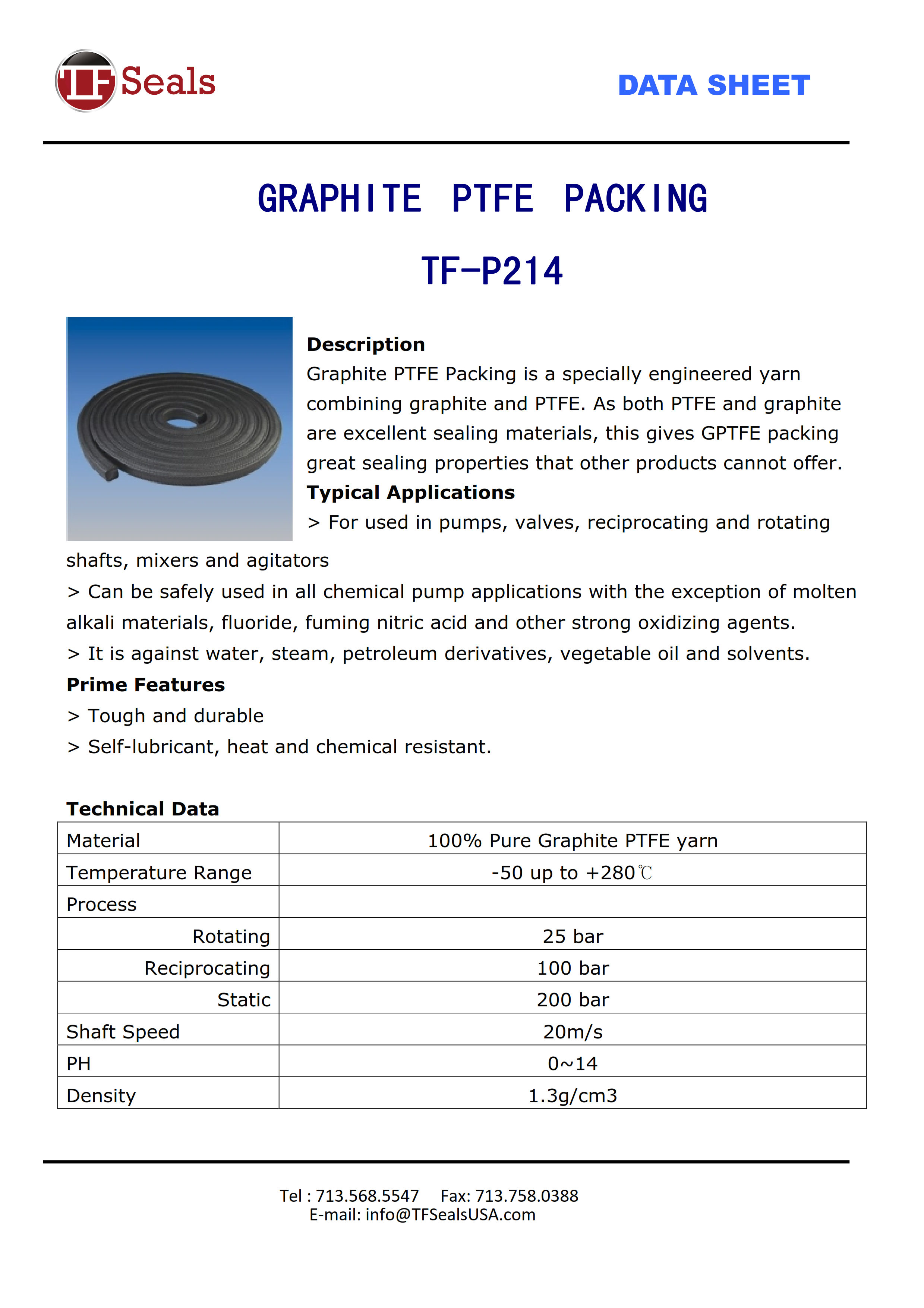PTFE packing, TF-P211